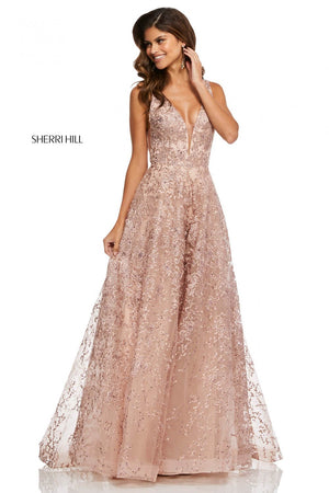 Sherri Hill 52877 prom dress images.  Sherri Hill 52877 is available in these colors: Blush Nude, Ivory, Light Blue Nude.