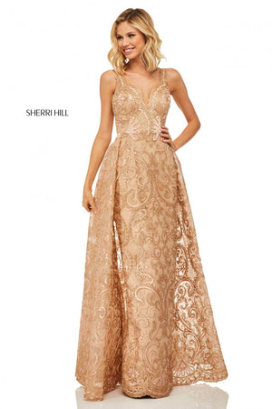 Sherri Hill 52878 prom dress images.  Sherri Hill 52878 is available in these colors: Rose Gold, Gold.