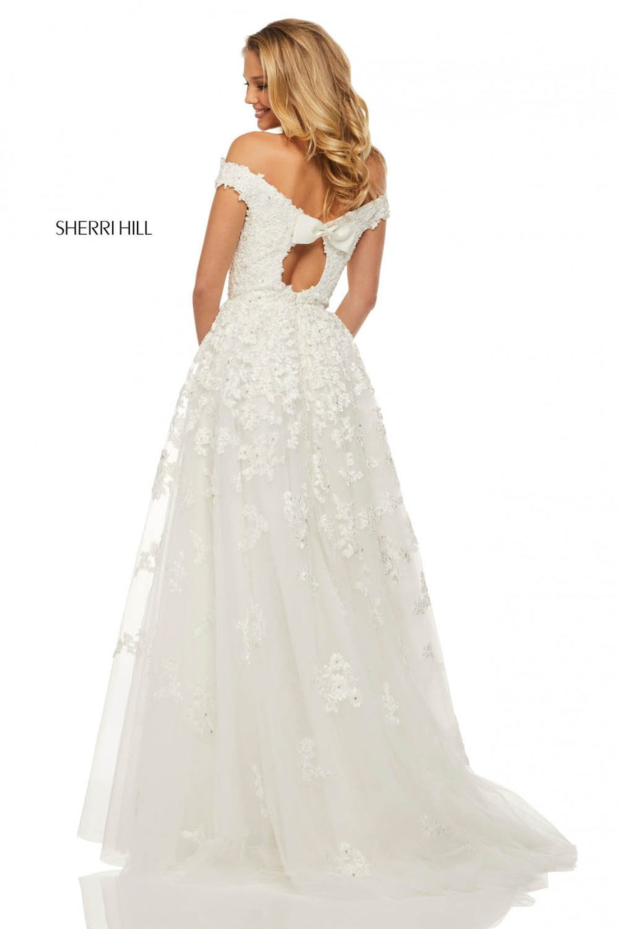 Sherri Hill 52879 prom dress images.  Sherri Hill 52879 is available in these colors: Ivory.