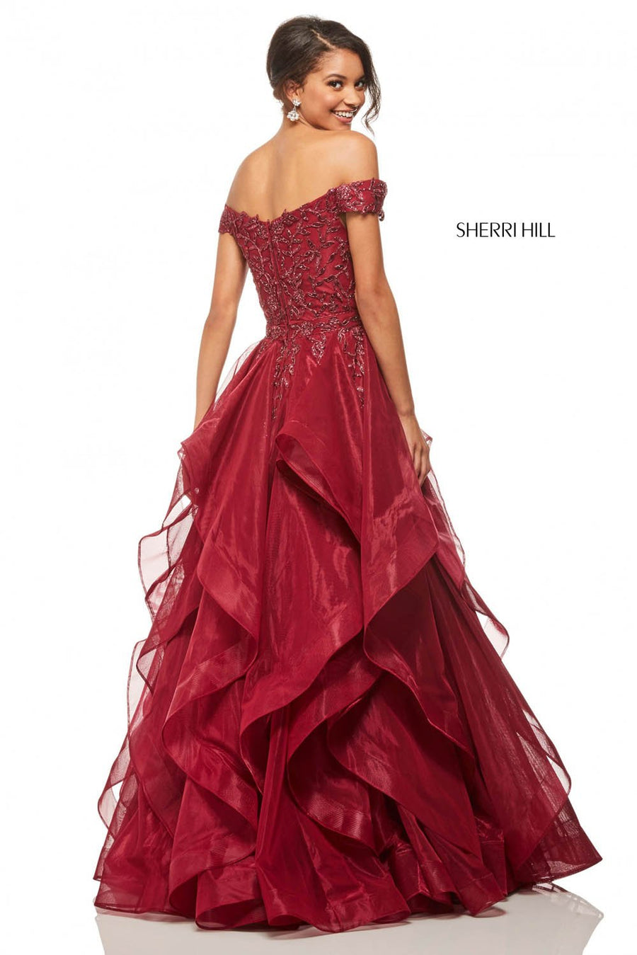 Sherri Hill 52880 prom dress images.  Sherri Hill 52880 is available in these colors: Navy, Wine, Black, Rose Gold.