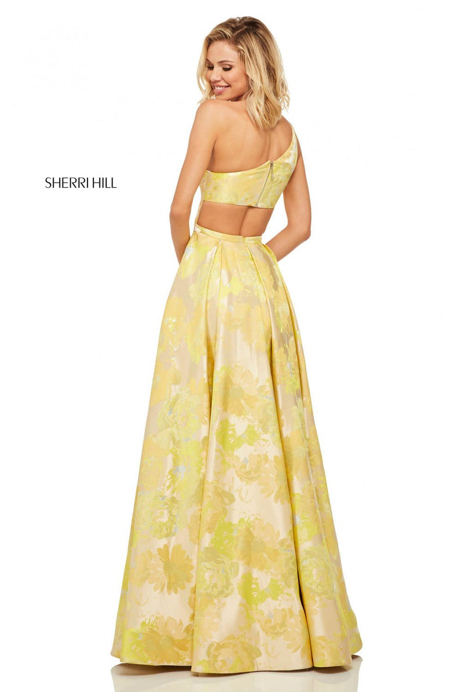 Sherri Hill 52882 prom dress images.  Sherri Hill 52882 is available in these colors: Yellow Print.