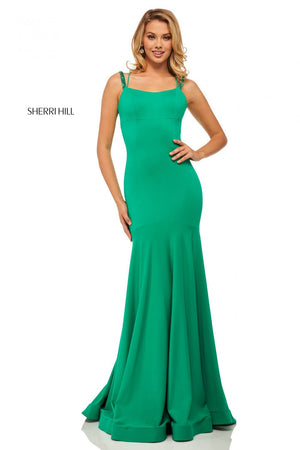 Sherri Hill 52883 prom dress images.  Sherri Hill 52883 is available in these colors: Wine, Red, Emerald, Black.