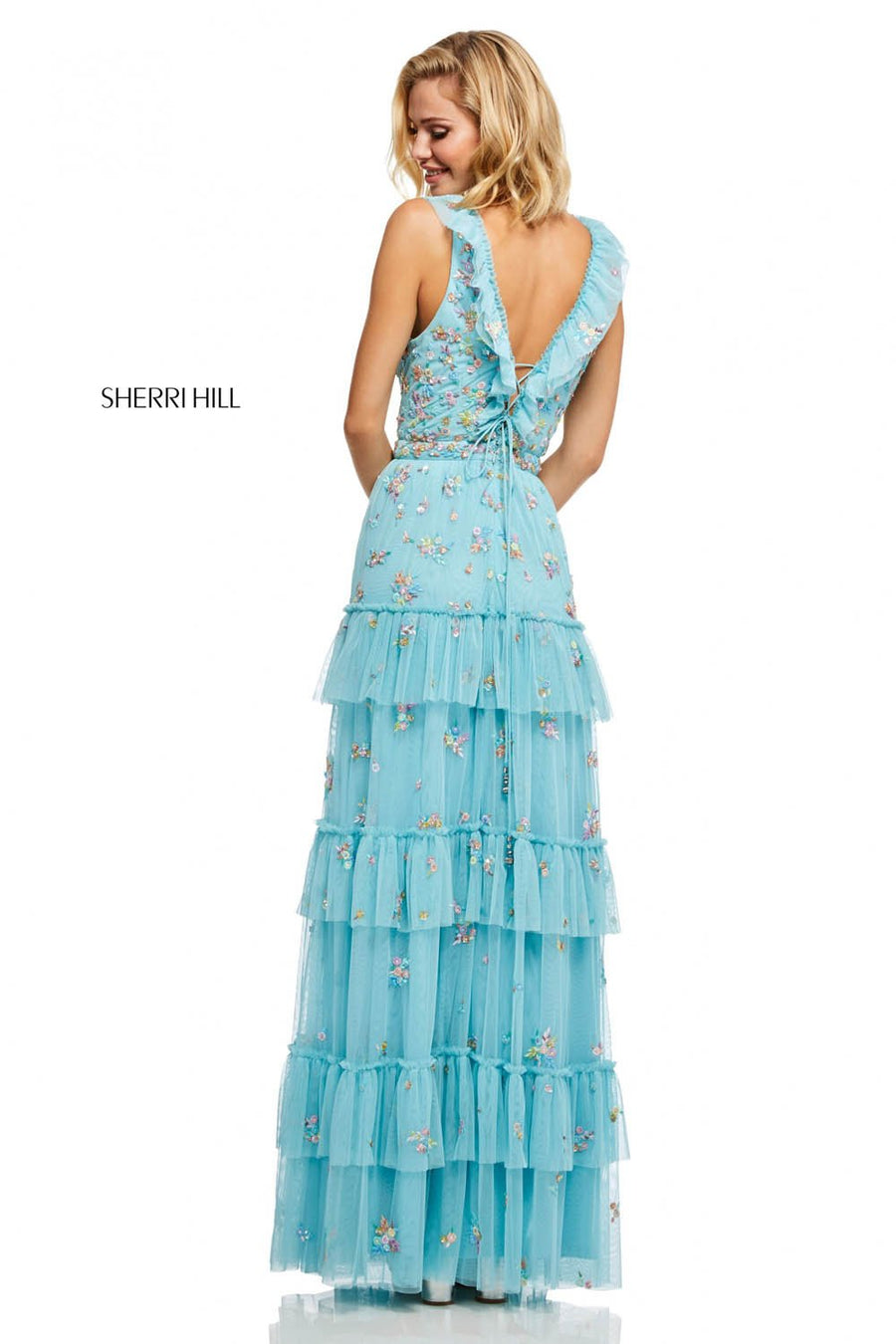 Sherri Hill 52884 prom dress images.  Sherri Hill 52884 is available in these colors: Light Blue, Black, Coral, Yellow.