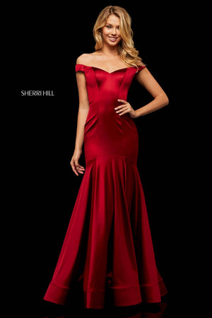 Sherri Hill 52885 prom dress images.  Sherri Hill 52885 is available in these colors: Emerald, Wine, Red, Purple.