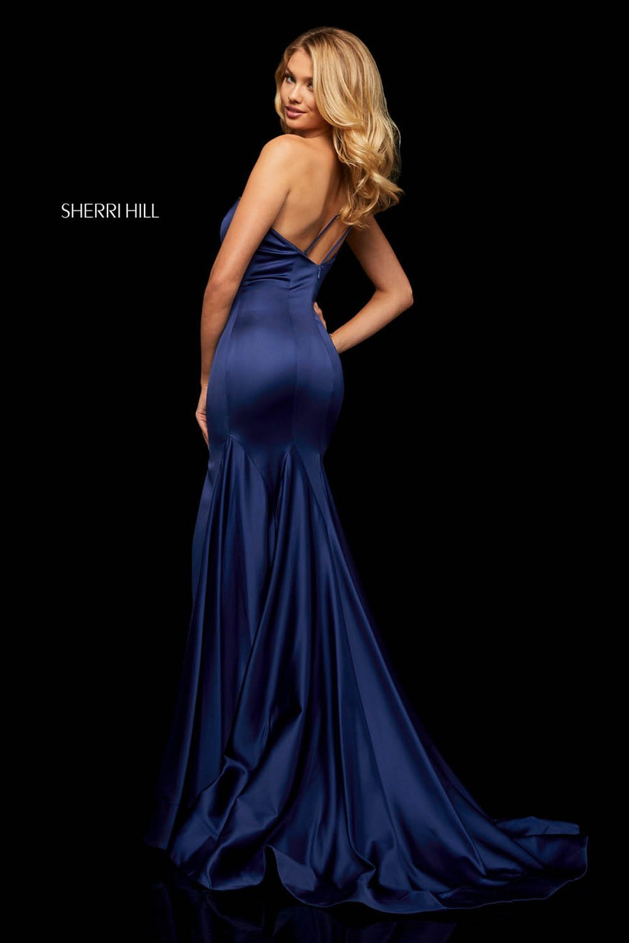 Sherri Hill 52886 prom dress images.  Sherri Hill 52886 is available in these colors: Black, Royal, Emerald, Red, Wine.