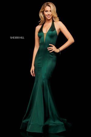 Sherri Hill 52887 prom dress images.  Sherri Hill 52887 is available in these colors: Olive, Emerald, Wine, Royal.