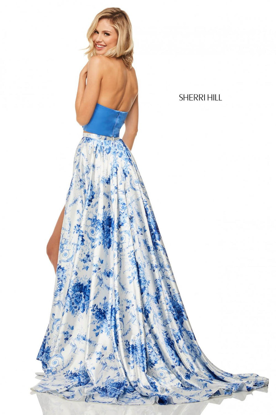 Sherri Hill 52894 prom dress images.  Sherri Hill 52894 is available in these colors: Blue Ivory Print.