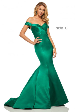 Sherri Hill 52895 prom dress images.  Sherri Hill 52895 is available in these colors: Black, Red, Emerald, Ivory.