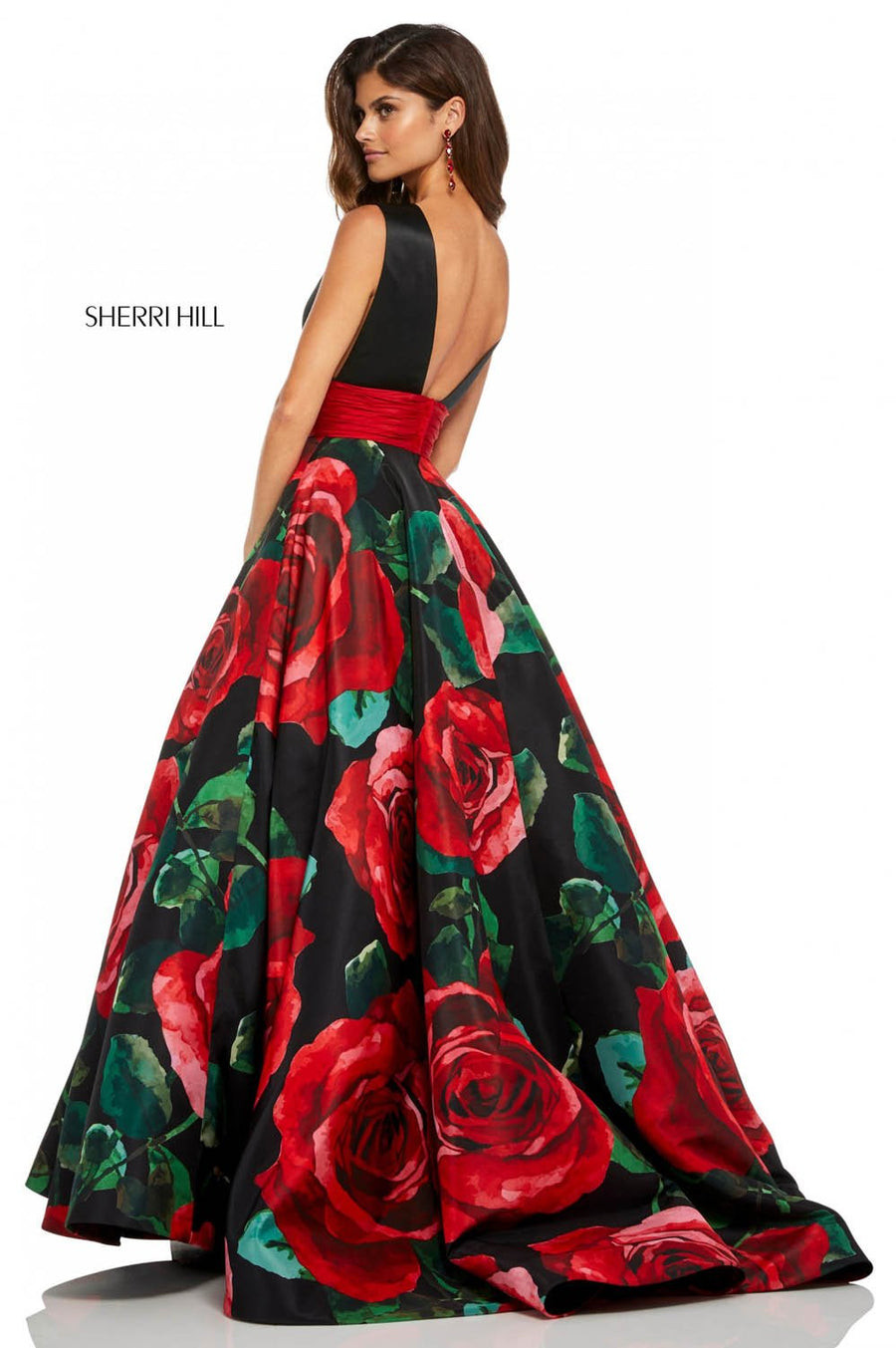 Sherri Hill 52898 prom dress images.  Sherri Hill 52898 is available in these colors: Black Red Print.