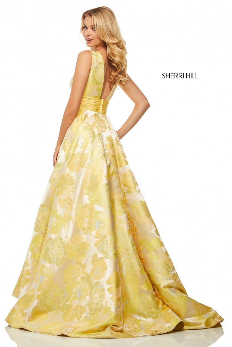 Sherri Hill 52899 prom dress images.  Sherri Hill 52899 is available in these colors: Yellow Print.