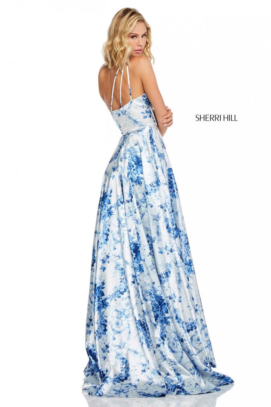 Sherri Hill 52900 prom dress images.  Sherri Hill 52900 is available in these colors: Blue Ivory Print.