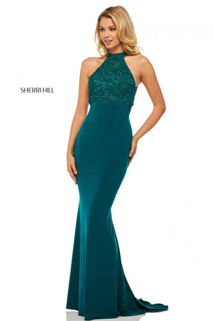 Sherri Hill 52901 prom dress images.  Sherri Hill 52901 is available in these colors: Wine, Navy, Emerald.