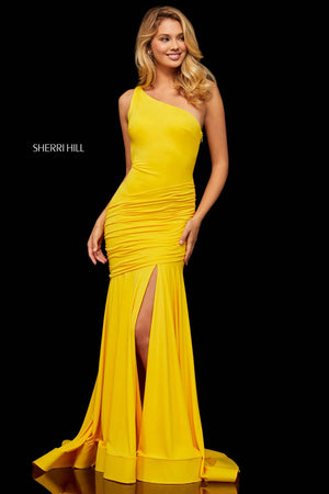 Sherri Hill 52902 prom dress images.  Sherri Hill 52902 is available in these colors: Red, Yellow, Royal.