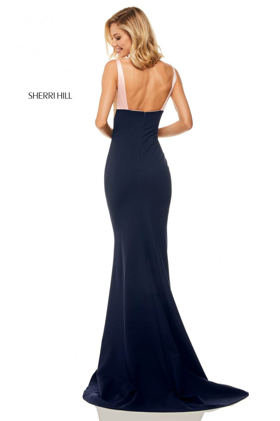 Sherri Hill 52903 prom dress images.  Sherri Hill 52903 is available in these colors: Emerald Black, Blush Navy, Black Ivory, Red Black, Ivory Black.