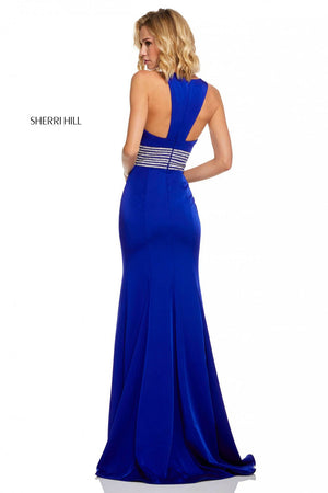 Sherri Hill 52904 prom dress images.  Sherri Hill 52904 is available in these colors: Royal, Ivory, Red, Black, Emerald.