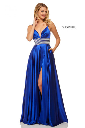 Sherri Hill 52906 prom dress images.  Sherri Hill 52906 is available in these colors: Royal, Emerald, Red, Black, Ivory.
