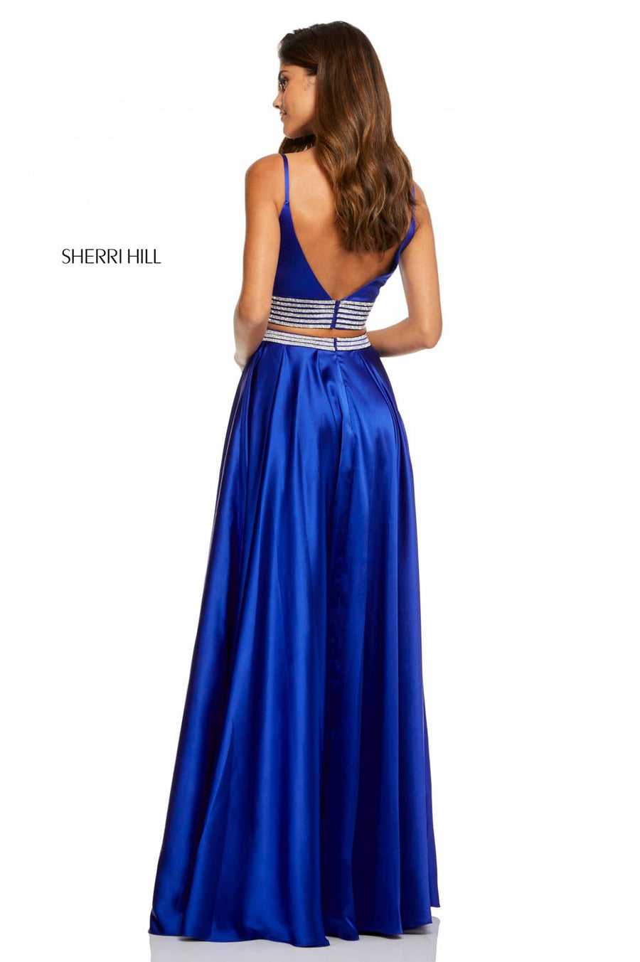 Sherri Hill 52907 prom dress images.  Sherri Hill 52907 is available in these colors: Black, Royal, Red, Emerald, Ivory.