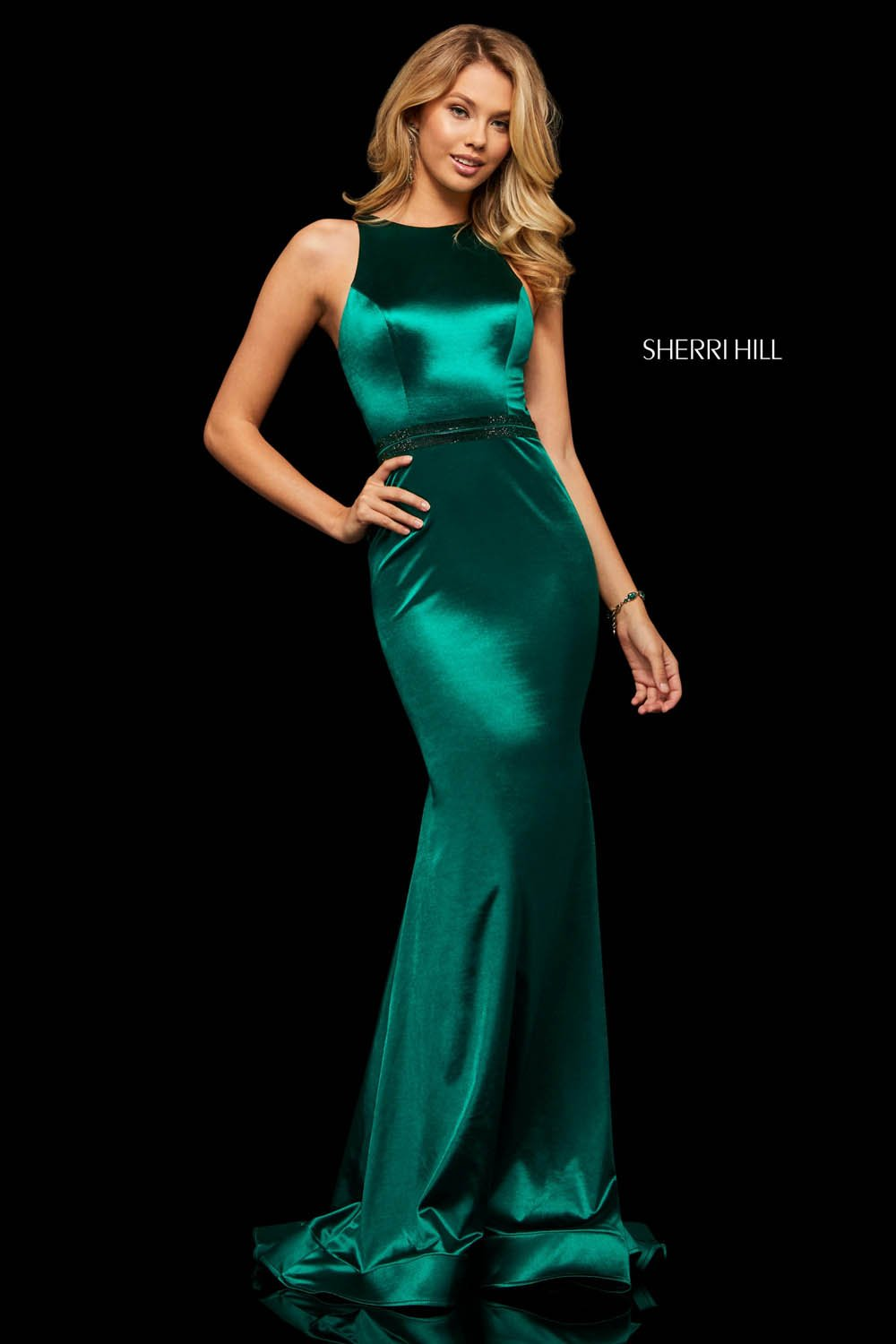 Sherri Hill 52908 prom dress images.  Sherri Hill 52908 is available in these colors: Black, Teal, Emerald.