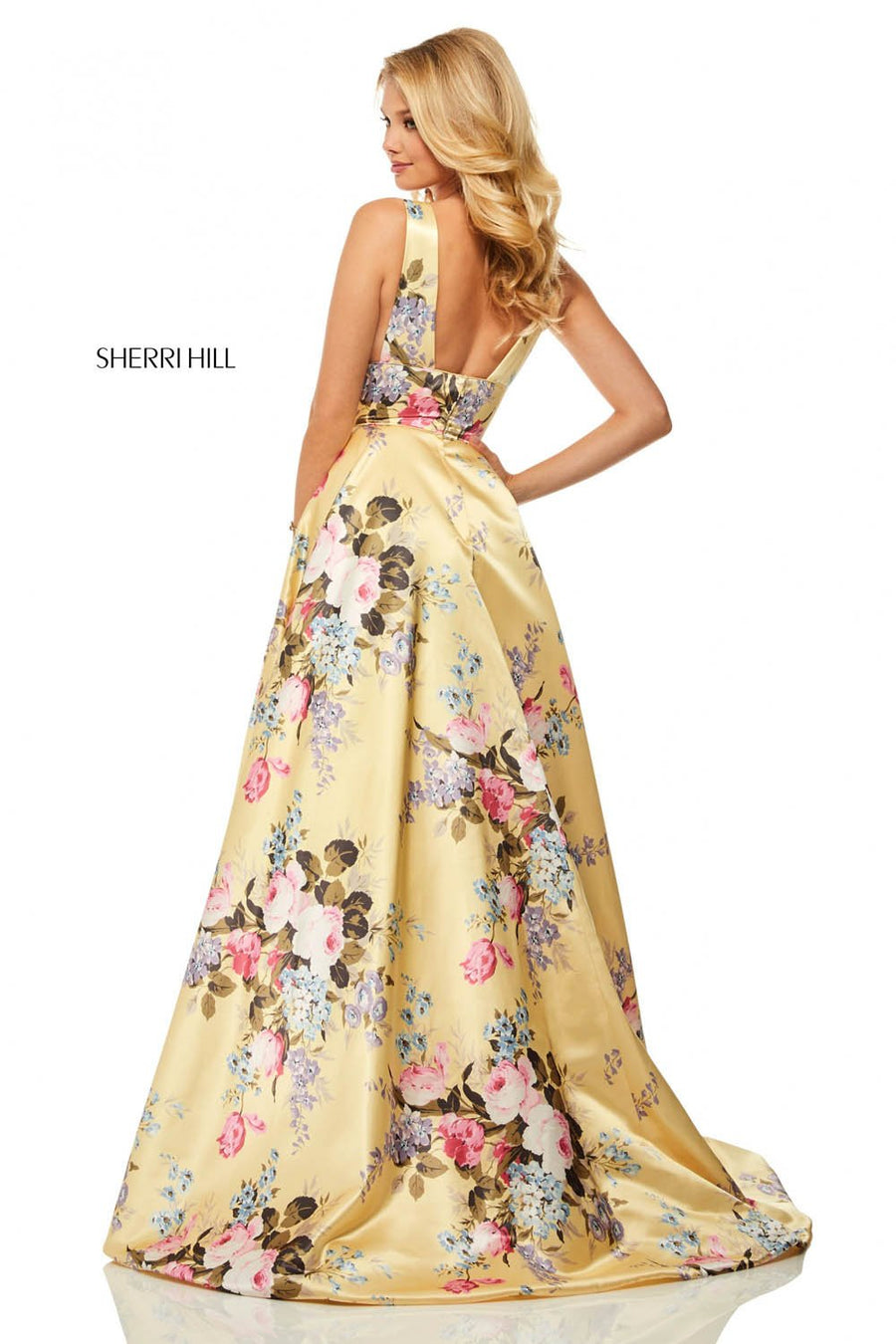 Sherri Hill 52909 prom dress images.  Sherri Hill 52909 is available in these colors: Ivory Print, Yellow Print, Light Blue Print, Aqua Print.