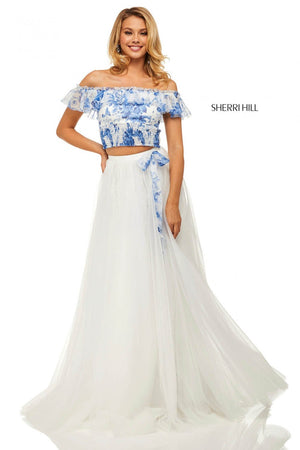 Sherri Hill 52910 prom dress images.  Sherri Hill 52910 is available in these colors: Blue Ivory Print.