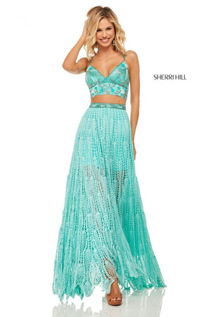 Sherri Hill 52914 prom dress images.  Sherri Hill 52914 is available in these colors: Aqua, Yellow, Coral.