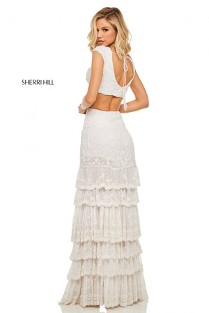 Sherri Hill 52917 prom dress images.  Sherri Hill 52917 is available in these colors: Ivory.