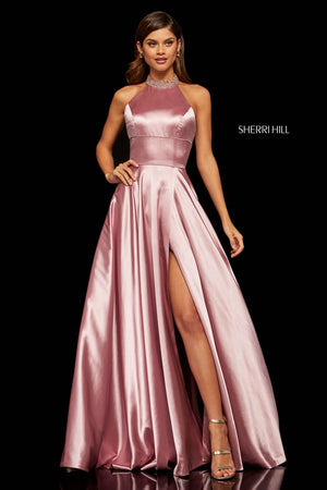 Sherri Hill 52920 prom dress images.  Sherri Hill 52920 is available in these colors: Mocha, Rose, Blue, Yellow, Red, Lilac, Teal.
