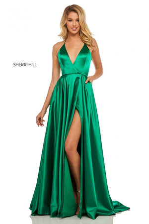 Sherri Hill 52921 prom dress images.  Sherri Hill 52921 is available in these colors: Yellow, Red, Emerald, Blue, Mocha, Teal, Purple, Royal, Rose, Lilac, Navy, Black, Ivory.