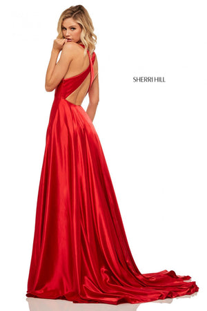 Sherri Hill 52922 prom dress images.  Sherri Hill 52922 is available in these colors: Yellow, Purple, Lilac, Royal, Mocha, Emerald, Rose, Teal, Blue, Red, Ruby, Black, Navy.