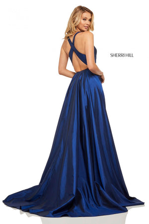 Sherri Hill 52923 prom dress images.  Sherri Hill 52923 is available in these colors: Lilac, Royal, Yellow, Blush, Emerald, Light Blue, Bright Pink, Navy, Red.