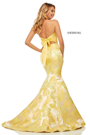 Sherri Hill 52927 prom dress images.  Sherri Hill 52927 is available in these colors: Yellow Print.