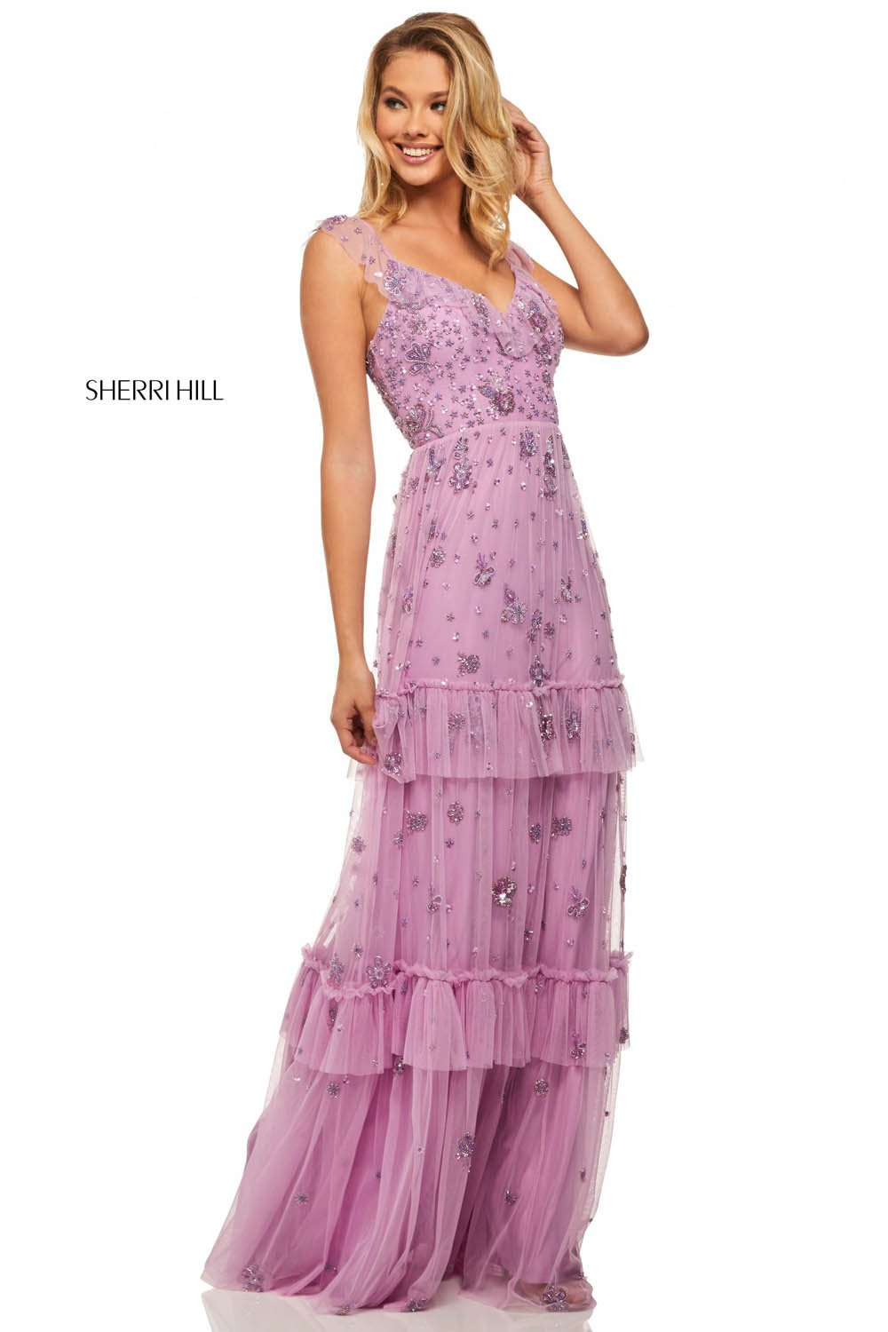 Sherri Hill 52929 prom dress images.  Sherri Hill 52929 is available in these colors: Lilac.