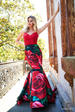 Sherri Hill 52930 prom dress images.  Sherri Hill 52930 is available in these colors: Red Black Print.