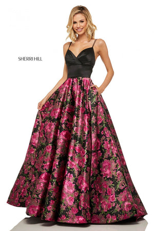 Sherri Hill 52931 prom dress images.  Sherri Hill 52931 is available in these colors: Black Fuchsia Print.