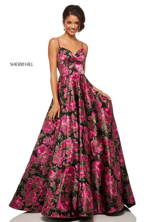 Sherri Hill 52932 prom dress images.  Sherri Hill 52932 is available in these colors: Black Fuchsia Print.