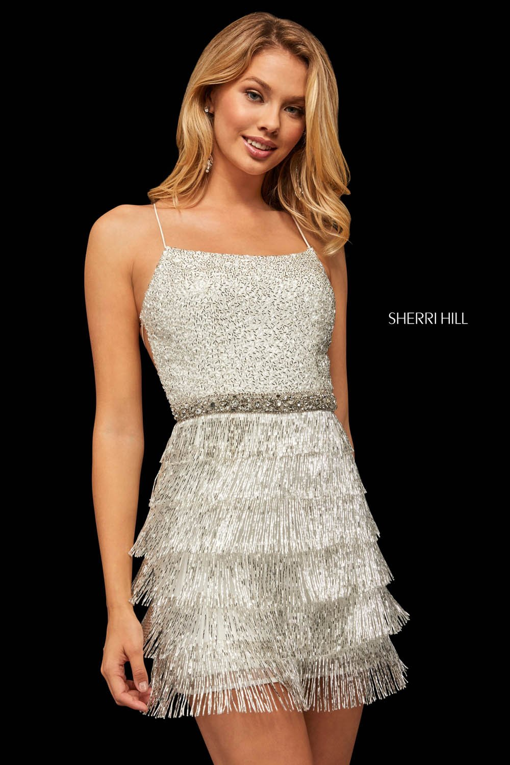 Sherri Hill 52935 prom dress images.  Sherri Hill 52935 is available in these colors: Nude Silver, Candy Pink Silver, Aqua Silver, Ivory Silver.