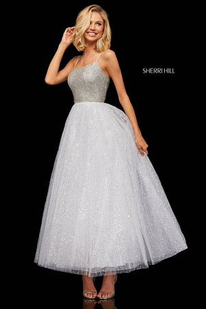 Sherri Hill 52942 prom dress images.  Sherri Hill 52942 is available in these colors: Ivory, Periwinkle, Light Pink.