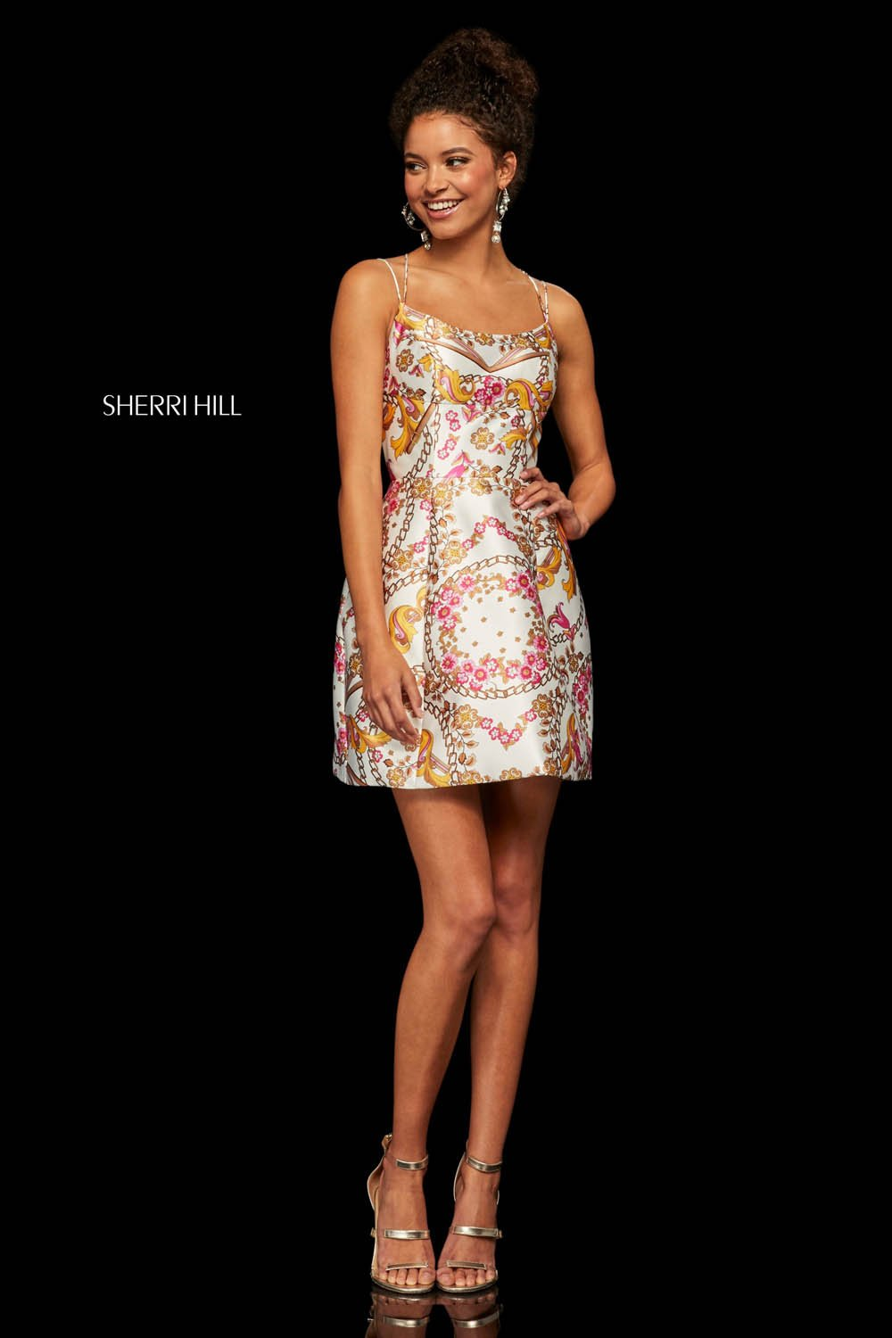 Sherri Hill 52943 prom dress images.  Sherri Hill 52943 is available in these colors: Ivory Fuchsia Print.