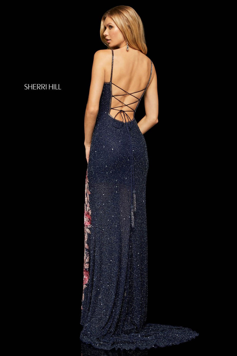 Sherri Hill 52945 prom dress images.  Sherri Hill 52945 is available in these colors: Navy Blush, Ivory Gold.