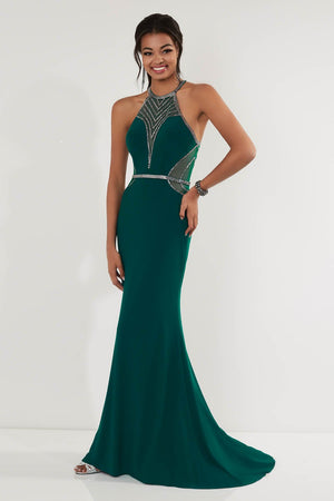 Studio 17 12708 prom dress images.  Studio 17 12708 is available in these colors: Gunmetal, Hunter, Red.