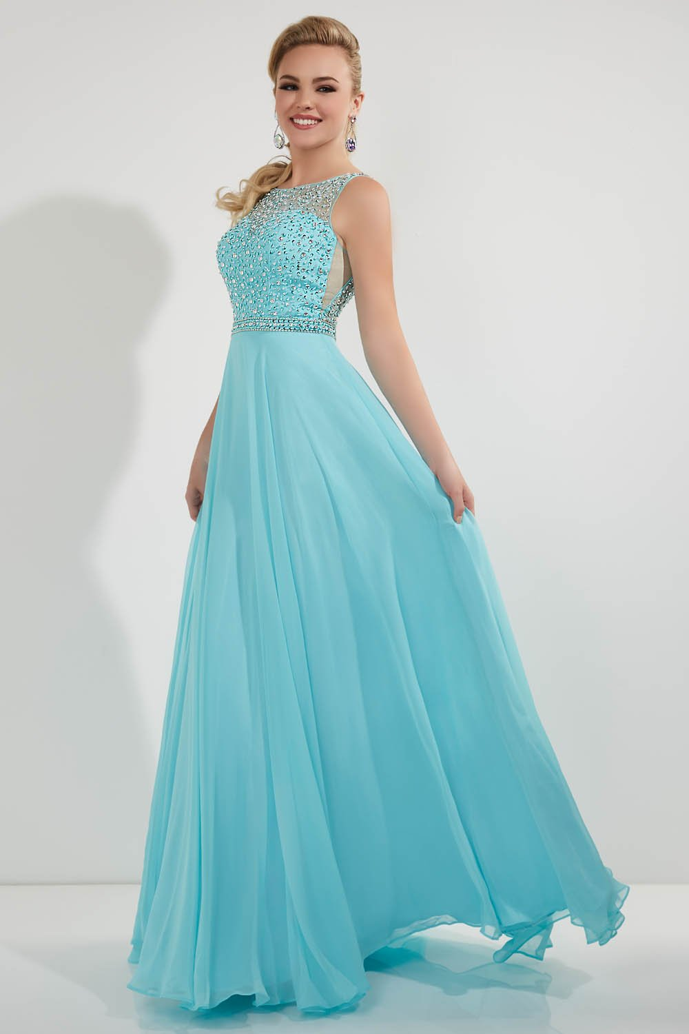 Studio 17 12713 prom dress images.  Studio 17 12713 is available in these colors: Aqua, Yellow.