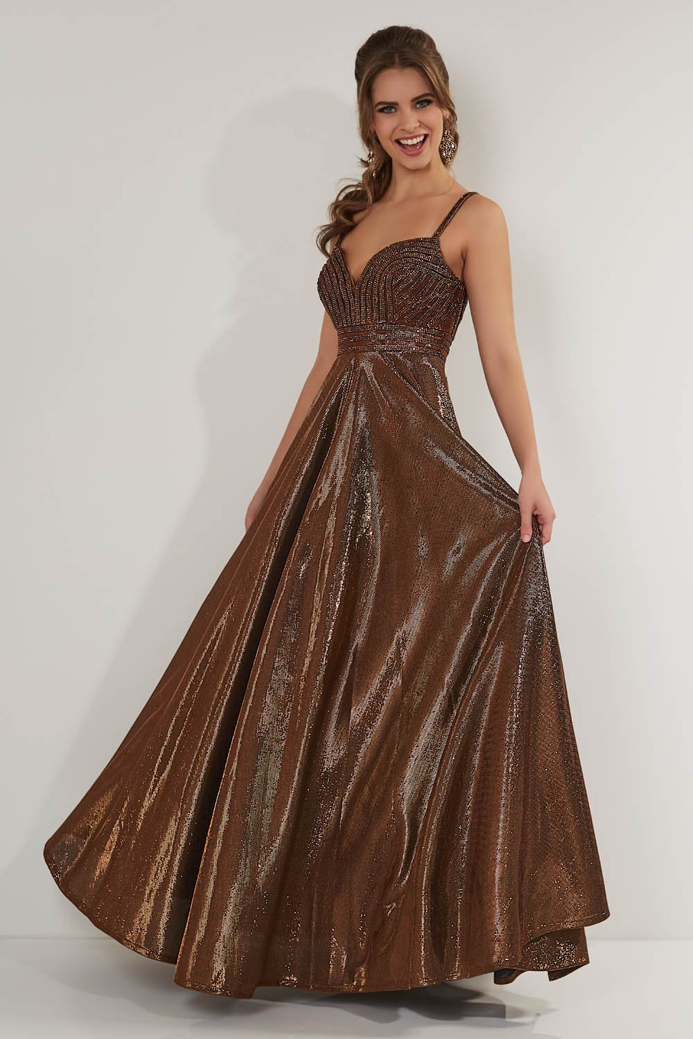 Studio 17 12717 prom dress images.  Studio 17 12717 is available in these colors: Bronze, Teal.