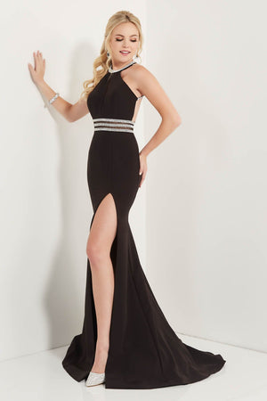 Studio 17 12718 prom dress images.  Studio 17 12718 is available in these colors: Black, Cornflower.