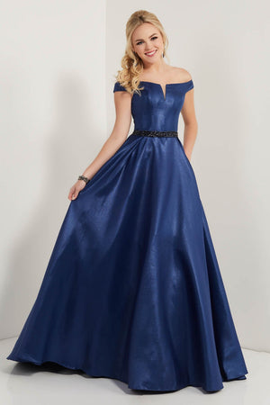 Studio 17 12719 prom dress images.  Studio 17 12719 is available in these colors: Champagne, Midnight, Rose.