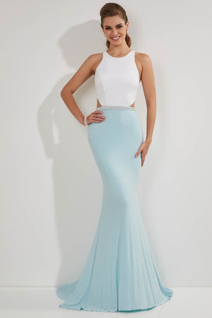Studio 17 12723 prom dress images.  Studio 17 12723 is available in these colors: Ivory Aqua, Ivory Lemon.