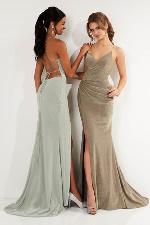 Studio 17 12737 prom dress images.  Studio 17 12737 is available in these colors: Gold Slate, Rose Gold, Sage.