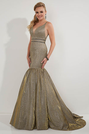 Studio 17 12741 prom dress images.  Studio 17 12741 is available in these colors: Bronze Mulighti, Gold Silver.