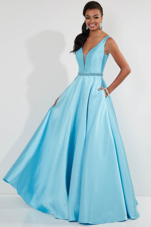 Studio 17 12747 prom dress images.  Studio 17 12747 is available in these colors: Fuchsia, Ivory, Rose, Sky, White, Wine.