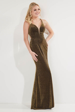 Studio 17 12748 prom dress images.  Studio 17 12748 is available in these colors: Gold, Gunmetal, Royal, Wine.