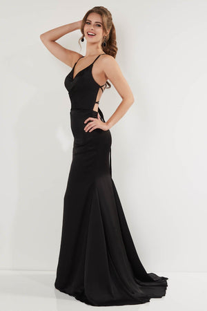 Studio 17 12749 prom dress images.  Studio 17 12749 is available in these colors: Black, Emerald, Fuchsia.